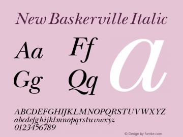 New Baskerville Italic Altsys Fontographer 3.5  11/25/92 Font Sample