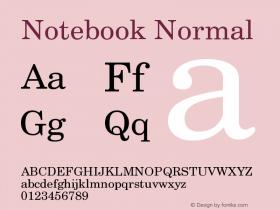 Notebook Normal Version 001.000 Font Sample