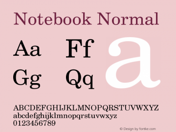Notebook Normal Version 001.000 Font Sample