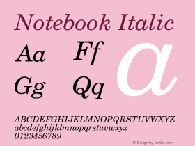 Notebook Italic Version 001.000 Font Sample