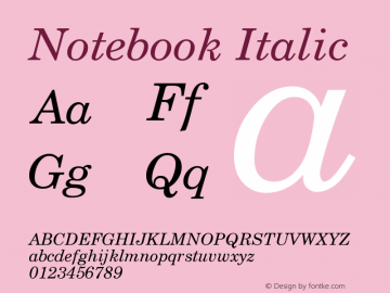 Notebook Italic Version 001.000 Font Sample