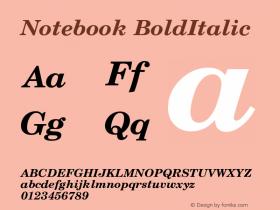 Notebook BoldItalic Version 001.000 Font Sample