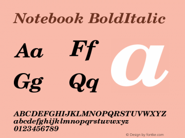 Notebook BoldItalic Version 001.000 Font Sample