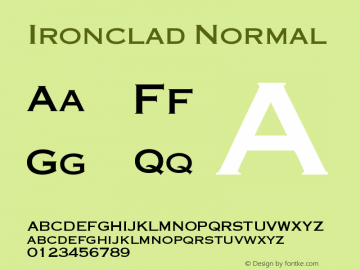 Ironclad Normal Version 001.000 Font Sample