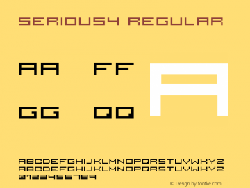 serious4 Regular 2001; 1.0, initial release Font Sample