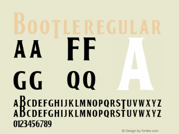 BOOTLE Regular Macromedia Fontographer 4.1 15/02/01 Font Sample