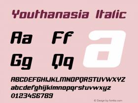 Youthanasia Italic Version 001.000 Font Sample