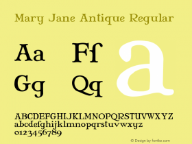 Mary Jane Antique Regular 2.0 Font Sample