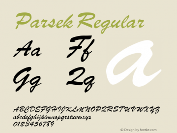 Parsek Regular Converted from H:\PARSEK.TF1 by ALLTYPE Font Sample
