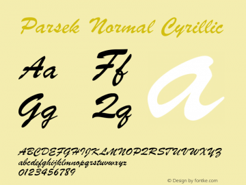 Parsek Normal Cyrillic 1.0 Thu Nov 25 21:19:28 1993 Font Sample