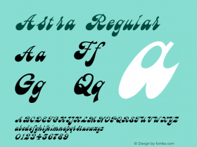 Astra Regular Converted from c:\windows\russ_fon\AST_____.TF1 by ALLTYPE Font Sample