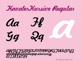 KavalerKursive Regular Altsys Fontographer 3.5  10/28/92 Font Sample