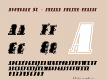 Avondale SC - Inline Inline-Italic Version 001.000 Font Sample