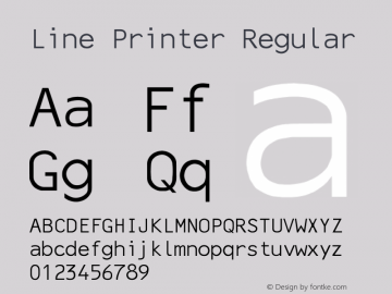 Line Printer Regular Converted from C:\TRUETYPE\X1356R8N.TF1 by ALLTYPE Font Sample