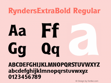 RyndersExtraBold Regular Macromedia Fontographer 4.1.5 5/15/98 Font Sample