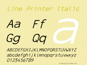 Line Printer Italic Converted from C:\TRUETYPE\X1356R8N.TF1 by ALLTYPE Font Sample
