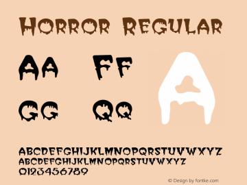 Horror Regular Unknown Font Sample