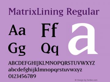 MatrixLining Regular Altsys Fontographer 3.5  1/28/93 Font Sample
