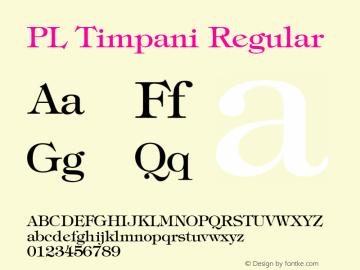 PL Timpani Regular KOBAX & Optimus core font: Version 2.00 Font Sample