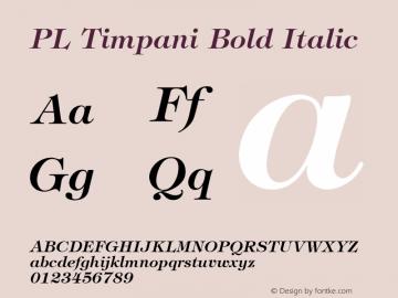 PL Timpani Bold Italic KOBAX & Optimus core font: Version 2.00 Font Sample