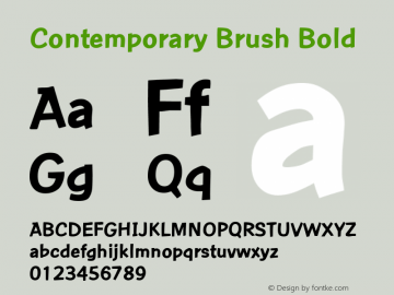 Contemporary Brush Bold Version 1.05 Font Sample