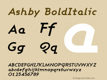 Ashby BoldItalic Version 001.000 Font Sample