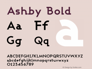 Ashby Bold Version 001.000 Font Sample