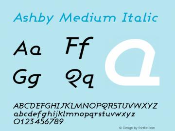 Ashby Medium Italic Version 001.000 Font Sample