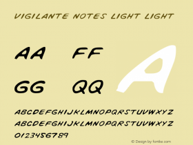 Vigilante Notes Light Light 1 Font Sample