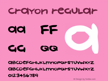 crayon Regular Macromedia Fontographer 4.1 22/05/00 Font Sample