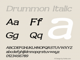 Drummon Italic Version 001.000 Font Sample