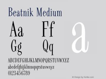 Beatnik Medium Version 001.000 Font Sample