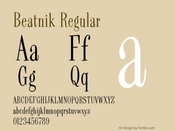 Beatnik Regular Version 002.000 Font Sample