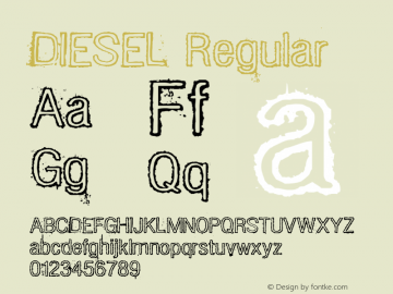DIESEL Regular Macromedia Fontographer 4.1.2 8/15/02 Font Sample