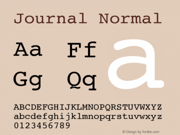 Journal Normal Version 001.000 Font Sample