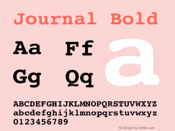 Journal Bold Version 001.000 Font Sample