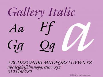 Gallery Italic Version 001.000 Font Sample