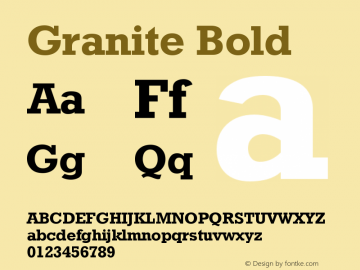 Granite Bold Version 001.000 Font Sample