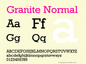 Granite Normal Version 001.000 Font Sample