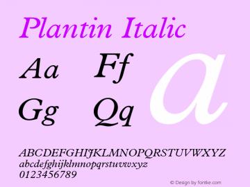 Plantin Italic Version 2 Font Sample