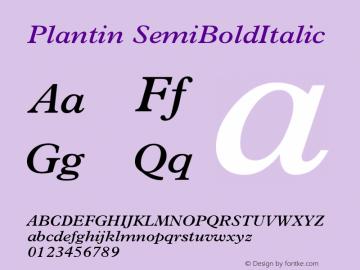 Plantin SemiBoldItalic Version 1 Font Sample
