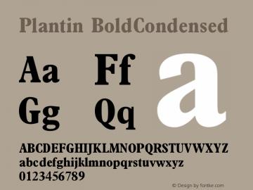 Plantin BoldCondensed Version 1 Font Sample