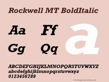Rockwell MT BoldItalic Version 2.0 - March 2001 Font Sample
