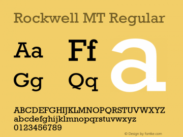Rockwell MT Regular Version 2.0 - March 01 Font Sample