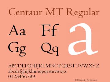 Centaur MT Regular Version 001.001 Font Sample