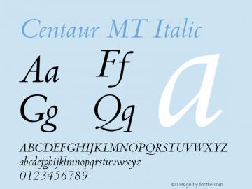 Centaur MT Italic Version 001.001 Font Sample