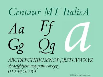 Centaur MT ItalicA Version 001.001 Font Sample