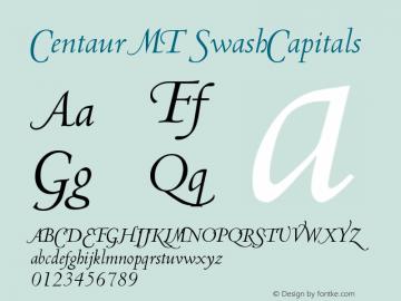 Centaur MT SwashCapitals Version 001.000 Font Sample