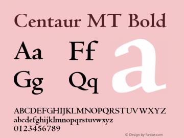 Centaur MT Bold Version 001.001 Font Sample