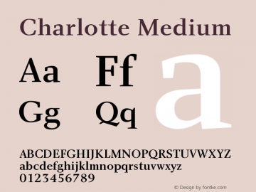 Charlotte Medium Version 1.0 Font Sample